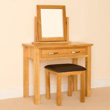 Newlyn Oak Dressing Table Set / Hand Crafted Modern Oak Table + Mirror & Stool
