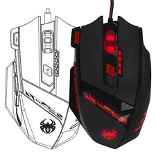 For Pro Gamer 8000 DPI Mouse 8 Key Memory Chips Optical LED Wired Gaming Mouse