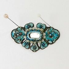 Antique Chinese Enamel Silver with Rose Quartz Beads & Mirror