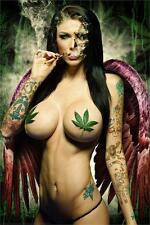GANJA GIRL - SEXY PIN UP POSTER - 24x36 WEED POT LEAF MARIJUANA SMOKING 3487