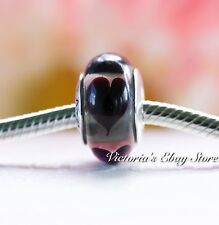 Authentic Pandora Clear Black Hearts Murano Charm Bead Retired #790665
