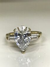 Pear Shape with Tulip Head  Engagement  Wedding Ring 5.00 ctw.. 14K Yellow Gold