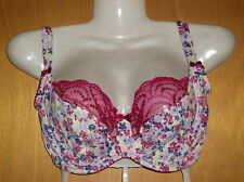 M&S U/Wired Non-Padded Lace Trim Floral Balcony Bra 30E Pink Mix BNWoT