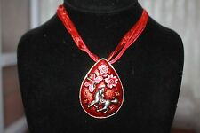 "Western:Silver tone Teardrop 2 1/4"" red Enamel China Horse, Red Ribbon Necklace"