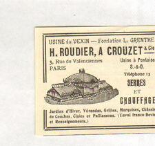 95 PONTOISE TOUTE PETITE PUBLICITE ROUDIER CROUZET SERRES & CHAUFFAGE 1913