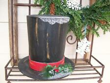 "NWT 9"" Black FROSTY SNOWMAN Top HAT Holly Snow CHRISTMAS Table Centerpiece Decor"