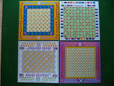 4  Math Board Games (Laminated) with7 different games ++Ideal for Home Schoolers