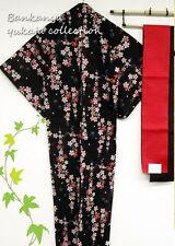 New Japanese Yukata Kimono Robe Set(Sakura)/Geta Sandal/Obi/Underwear Cotton100%