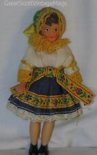 "Vintage 1950's Slovakia Girl Costume Souvenir Solid Vinyl/Rubber Doll 4.5"" Tall"