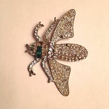 Rare Large Vintage Insect Bug Pin Brooch Rhinestone Pave Signed Reinad 807