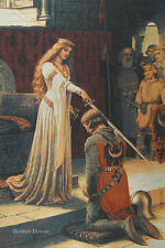 """44"""" WALL MEDIEVAL KNIGHT TAPESTRY The Accolade - LEIGHTON ART - EUROPEAN PICTURE"""