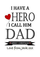 christmas Dad gift print daddy hero love birthday word art personalised father