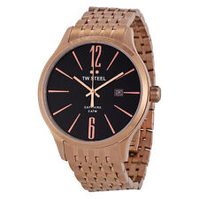 TW Steel Slimline Black Dial Rose Gold-tone Stainless Steel Mens Watch TW1308