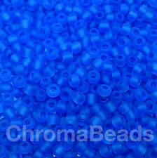 50g glass seed beads - Bright Blue Frosted - approx 3mm (size 8/0) craft