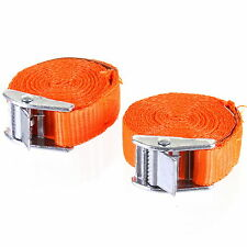 2 x CAM BUCKLE STRAP TIE DOWN LOAD LASH LUGGAGE STRAP TRAILERS 25mm x 2.5M NEW