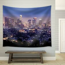 The City of Los Angeles All Lit Up at Night - Fabric Tapestry - 51x60 inches