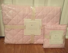 NEW 2PC Pottery Barn Baby Kids Belgian Flax Linen Bedding Quilt + Sham PINK