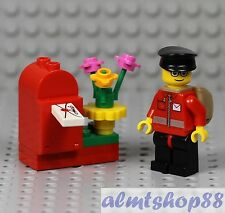 LEGO - Mail Carrier Minifigure w/ Envelope & Mailbox Post Office Delivery Man