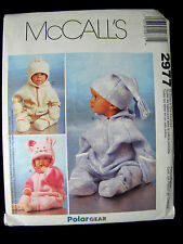 McCall's Sewing Pattern 2977 Infant Polar Fleece Bunting and 3 Hats Sz Sm to XL