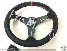 Flat 350mm Suede Leather Low Dish Black Spoke Steering Wheel OMP NARDI SPARCO