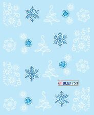 Christmas White Blue Xmas Tree Snowflakes Nail Art Water Transfer Decal Stickers