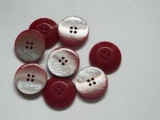 8pc 28mm Red with Silver Flash Coat Cardigan Trouser Shirt Baby Button 0317