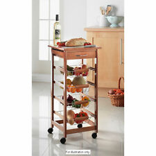 KITCHEN 4 TIER WOODEN VEGETABLE FRUIT TROLLEY RACK WITH DRAWER & CHOPPING BOARD