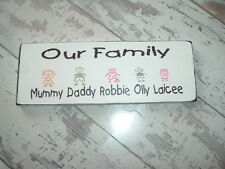 shabby and chic plaque personalised our family plaque sign stick people gift