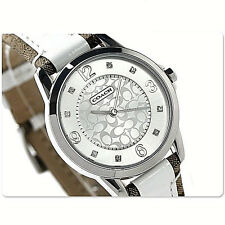 NWT Coach Womens Watch Brown White Leather Silver SS Glitz CLASSIC 14501619 $195