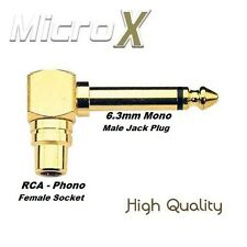 GOLD Right Angled RCA Phono to 6.35mm MONO Jack Adaptor 6.3mm 1/4 Connector