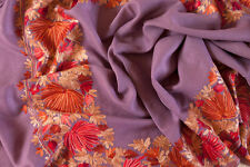 Lavender Pashmina Wool Shawl Crewel Embroidery Kashmir Ari Embroidered Stole