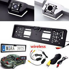 Wireless Europe License Plate Frame Car Rear View Camera 12V 4LEDs Night Vision