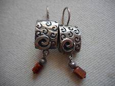 Lightly Oxidized Sterling Silver Goldstone Silpada Earrings W0895  RE3459