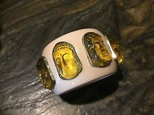"Dramatic 2"" Wide Ivory Color Lucite Bangle With Citrine Glass Buddha Medallions"