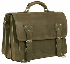 HIDEONLINE RUGGED STONE BROWN CRAZY HORSE LEATHER BRIEFCASE/BACKPACK BAG/SATCHEL