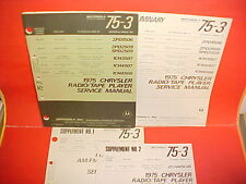 1975 CHRYSLER DODGE PLYMOUTH MOTOROLA 8-TRACK/AM-FM-MPX RADIO SERVICE MANUAL 75
