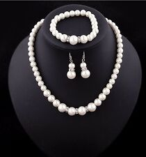Wedding Bride Crystal / Simulated Pearl Necklace Earrings Bracelet Set Jewelry