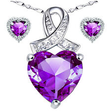 925 Sterling Silver Purple Amethyst 6.06 Ct Heart Pendant Necklace Earring Set