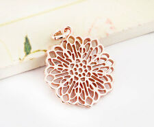 925 Sterling Silver Rose Gold Vermeil Style Filigree Disc Pendant 18.5mm.