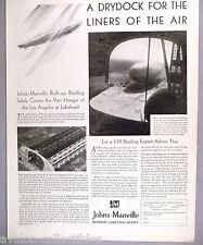 Johns-Manville Asbestos Roofs PRINT AD - 1929 ~~ Graf Zeppelin Lakehurst Hangar