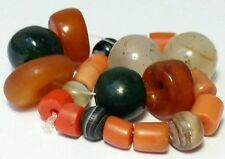 A BEAUTIFUL STRAND OF ANCIENT & ANTIQUE BEADS (AGATE, CARNELIAN, CORAL, AMBER..)