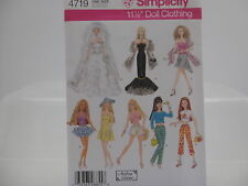 "Simplicity Pattern 4719, Barbie Clothes, 11 1/2"" Doll Clothing, One Size"
