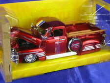 Chevrolet 3100 Pickup 1951 radios 1:24 Big Time Kustoms Jada Escala 96802 Nuevo Rojo