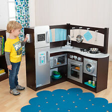 KidKraft Grand Gourmet Uptown Espresso Corner Wood Play Kitchen & Metal Cookware