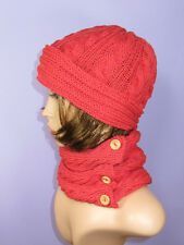PRINTED KNITTING INSTRUCTIONS-SIDEWAYS CABLE COWL & BEANIE  HAT KNITTING PATTERN