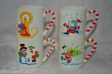 1985 Sterling House White Plastic Stackable Christmas Childrens Cups Set of 4