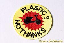 """Aufnäher """"Plastic? No thanks!"""" - Vespa Lambretta Scooter Roller Piaggio Patch"""
