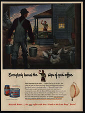 1950 MAXWELL HOUSE COFFEE - Farmer - Wife - Chickens - BINGHAM Art - VINTAGE AD