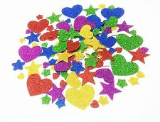 OVER 125 3D GLITTER STICKY FOAM STIKERS SELF ADHESIVE HEART/STAR SHAPES KIDS ART