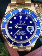 Rolex Submariner Date 16618 Blue - 18k Solid Gold watch w/ Box, Tags, Papers
